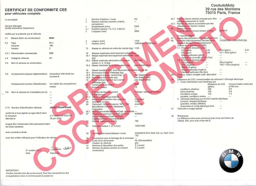 certificat de conformit europ en bmw coc commandez votre certificat de conformit c o c france. Black Bedroom Furniture Sets. Home Design Ideas