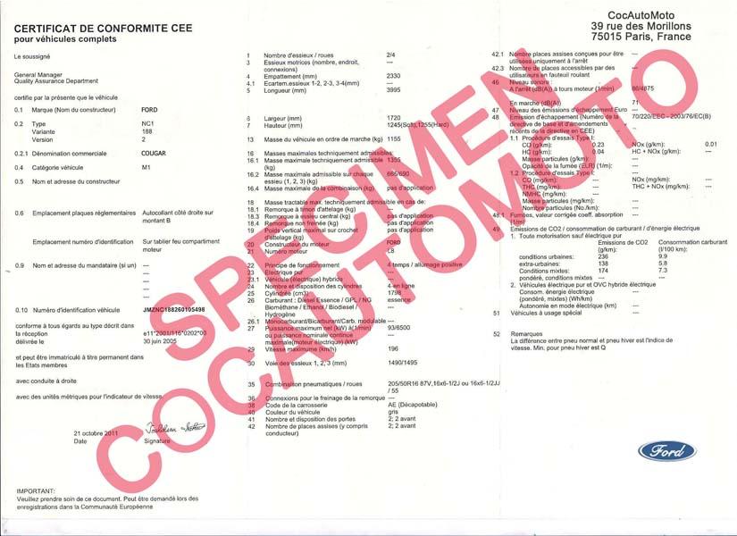 certificat de conformit europ en ford coc commandez votre certificat de conformit c o c france. Black Bedroom Furniture Sets. Home Design Ideas