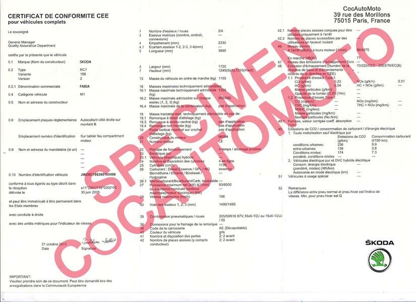 demande de certificat de conformit europ en skoda cocautomoto skoda france certifauto. Black Bedroom Furniture Sets. Home Design Ideas