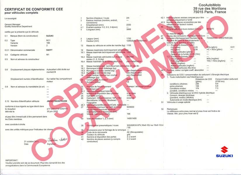 demande de certificat de conformit europ en suzuki cocautomoto suzuki france paris. Black Bedroom Furniture Sets. Home Design Ideas