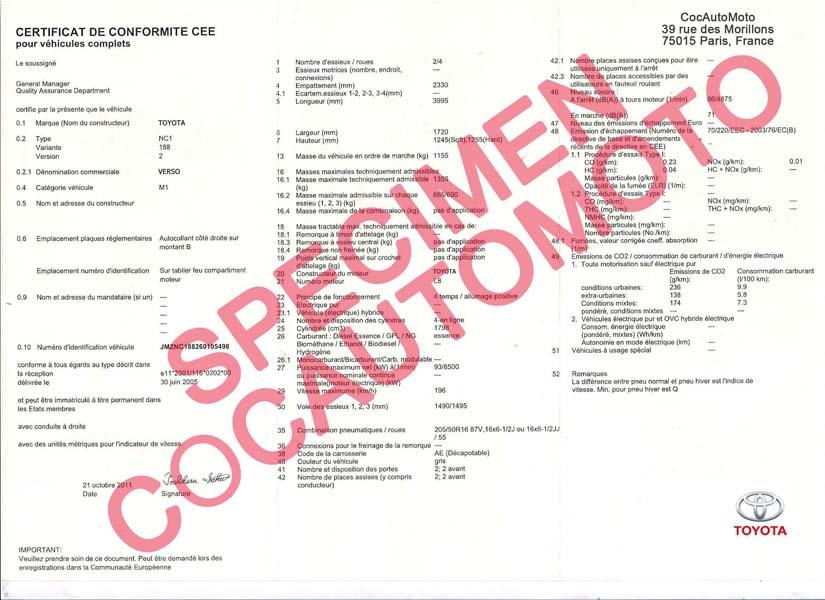 demande de certificat de conformit toyota cocautomoto toyota france paris certifauto. Black Bedroom Furniture Sets. Home Design Ideas